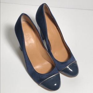J. Crew Navy Satin Patent Leather Round Heels 6